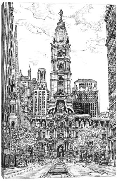 Philadelphia Cityscape in Black & White Canvas Art Print