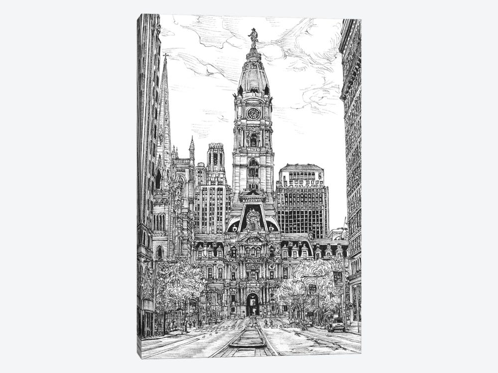 Philadelphia Cityscape in Black & White by Melissa Wang 1-piece Canvas Wall Art