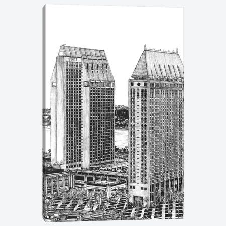 San Diego Cityscape in Black & White 3-Piece Canvas #WNG401} by Melissa Wang Canvas Artwork