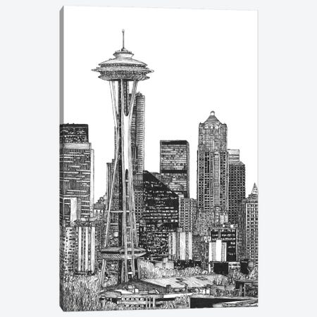 Seattle Cityscape in Black & White 3-Piece Canvas #WNG403} by Melissa Wang Canvas Wall Art