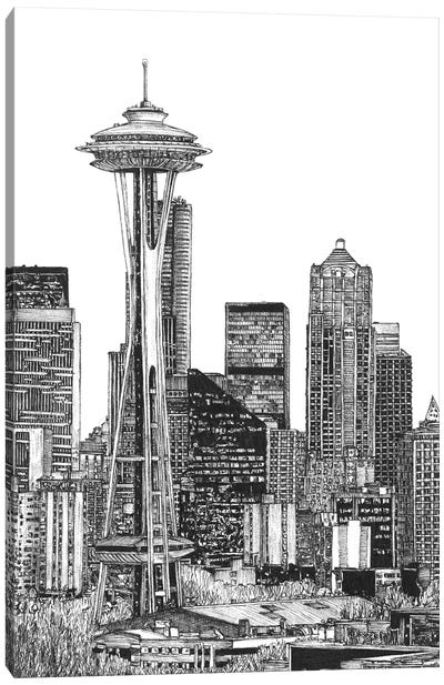 Seattle Cityscape in Black & White Canvas Art Print
