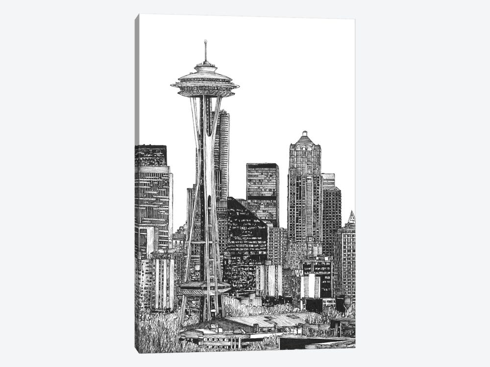 Seattle Cityscape in Black & White by Melissa Wang 1-piece Canvas Print