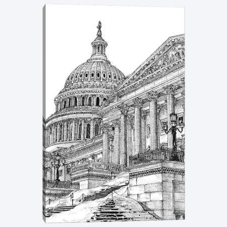 Washington DC Cityscape in Black & White 3-Piece Canvas #WNG404} by Melissa Wang Canvas Print