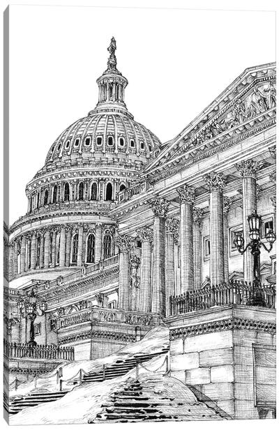 Washington DC Cityscape in Black & White Canvas Art Print