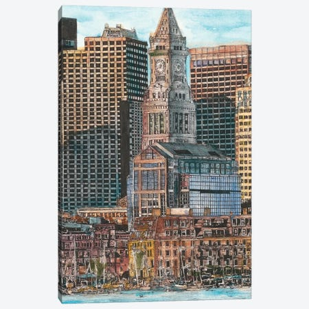 Boston Cityscape Canvas Print #WNG448} by Melissa Wang Canvas Artwork