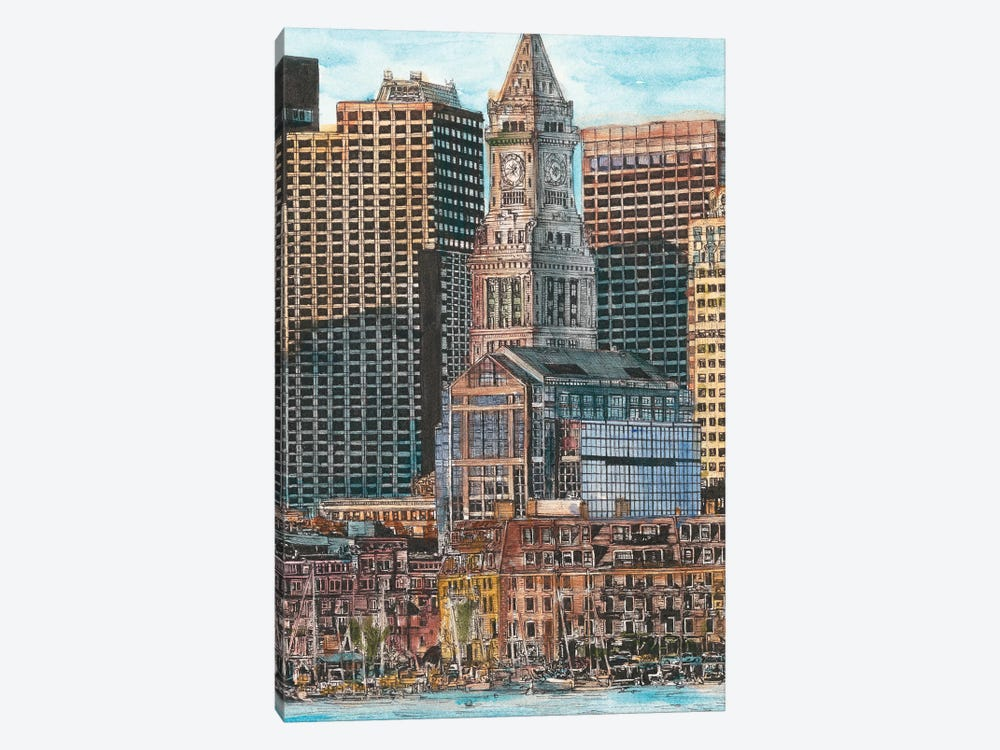 Boston Cityscape by Melissa Wang 1-piece Canvas Art