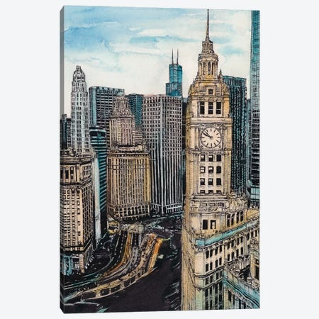 Chicago Cityscape Canvas Print #WNG449} by Melissa Wang Canvas Art