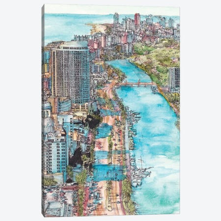 Miami Cityscape Canvas Print #WNG451} by Melissa Wang Art Print