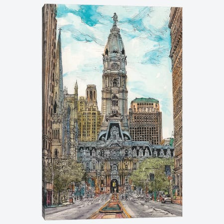 Philadelphia Cityscape Canvas Print #WNG453} by Melissa Wang Art Print
