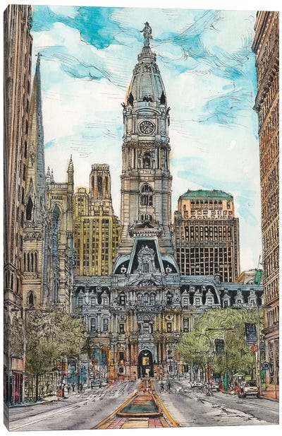 Philadelphia Cityscape Canvas Art Print