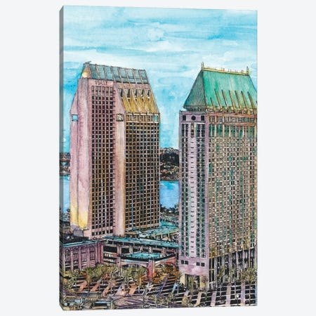 San Diego Cityscape Canvas Print #WNG454} by Melissa Wang Canvas Artwork