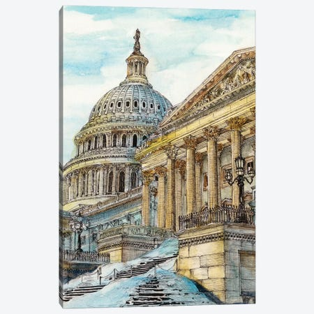 Washington DC Cityscape 3-Piece Canvas #WNG457} by Melissa Wang Canvas Art