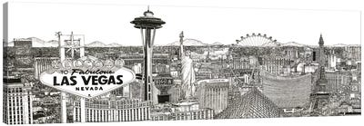 Vegas Skyline in Black & White Canvas Art Print