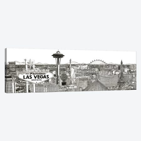 Vegas Skyline in Black & White Canvas Print #WNG458} by Melissa Wang Canvas Art Print