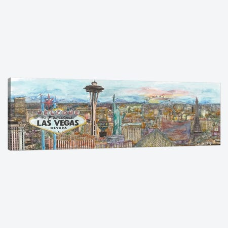 Vegas Skyline in Color Canvas Print #WNG459} by Melissa Wang Canvas Art Print