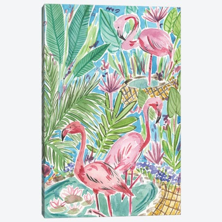 Flamingo Paradise I Canvas Print #WNG492} by Melissa Wang Canvas Print