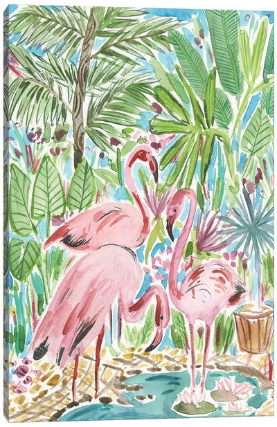 Flamingo Paradise II Canvas Art Print