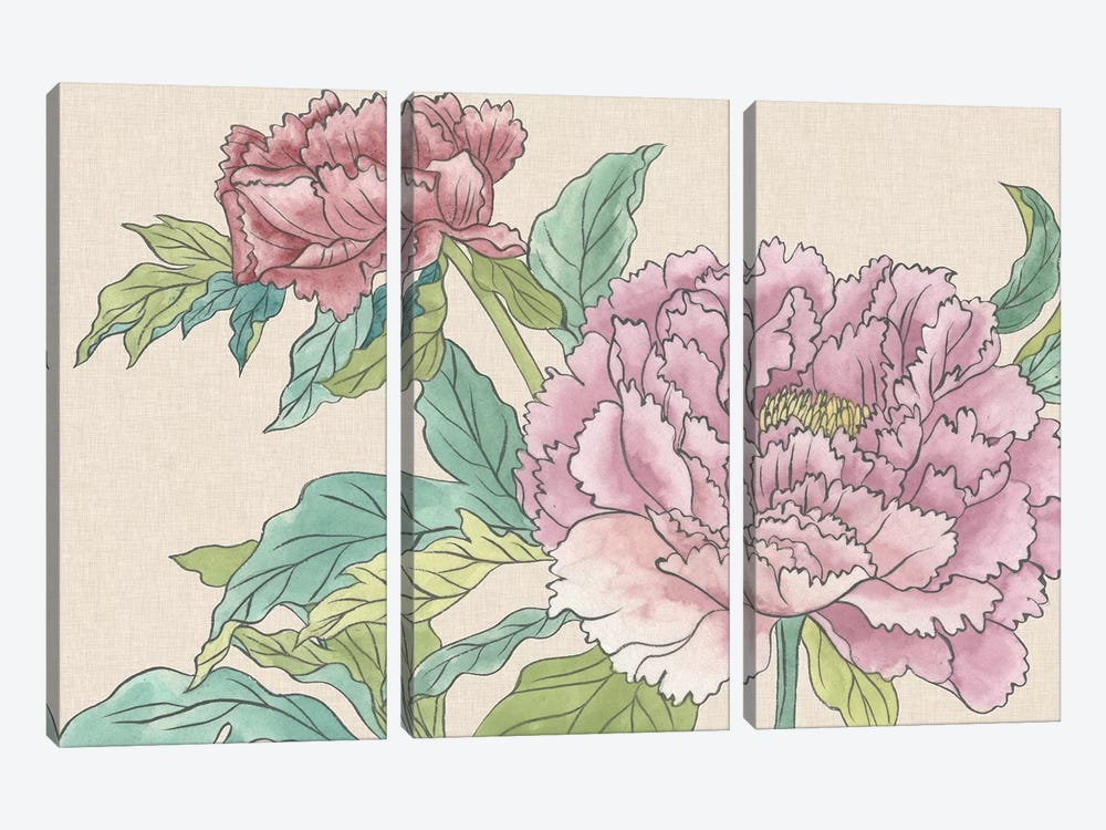 Peony Blooms I by Melissa Wang 3-piece Canvas Print