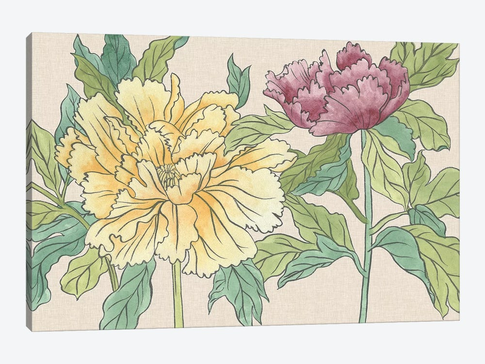 Peony Blooms II by Melissa Wang 1-piece Canvas Artwork