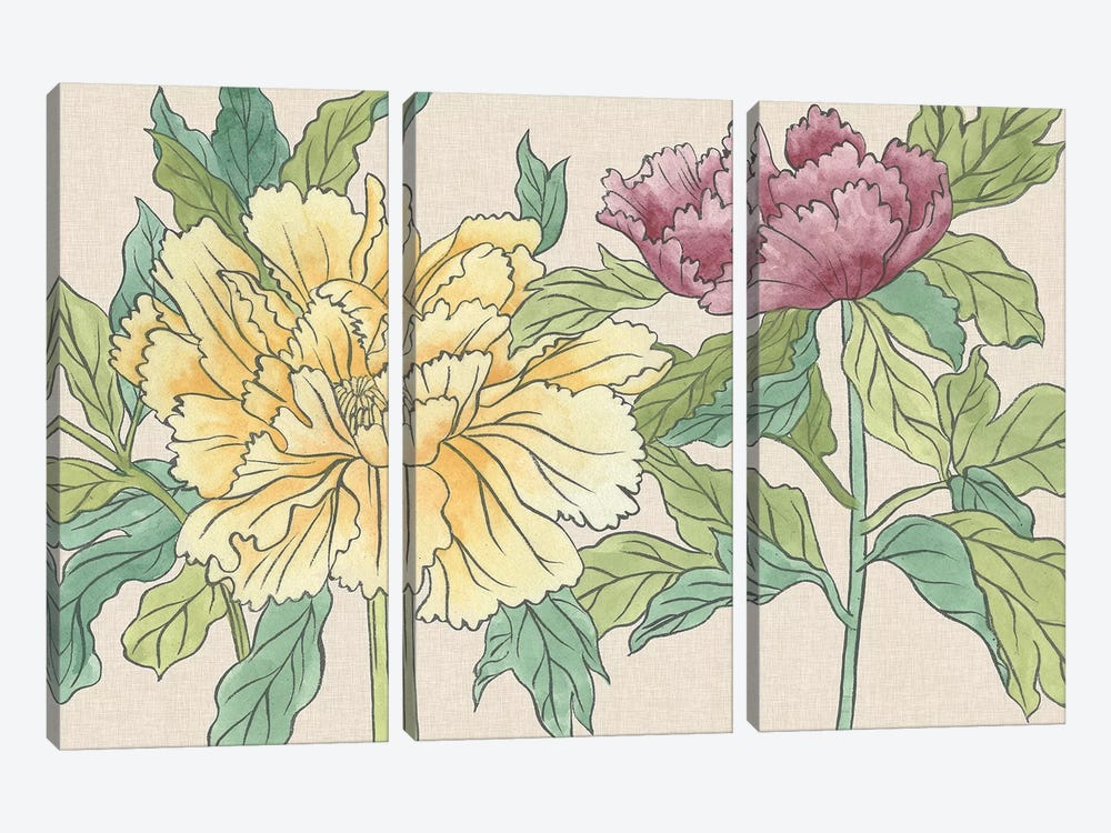 Peony Blooms II by Melissa Wang 3-piece Canvas Art