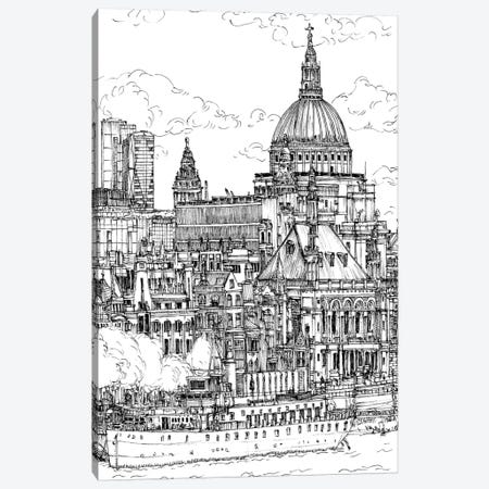 B&W City Scene X Canvas Print #WNG50} by Melissa Wang Canvas Artwork