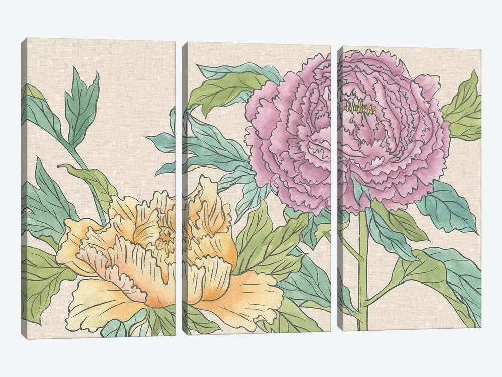 Peony Blooms III by Melissa Wang 3-piece Canvas Art