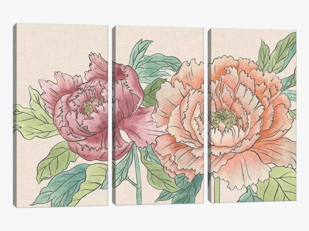 Peony Blooms IV by Melissa Wang 3-piece Canvas Art Print