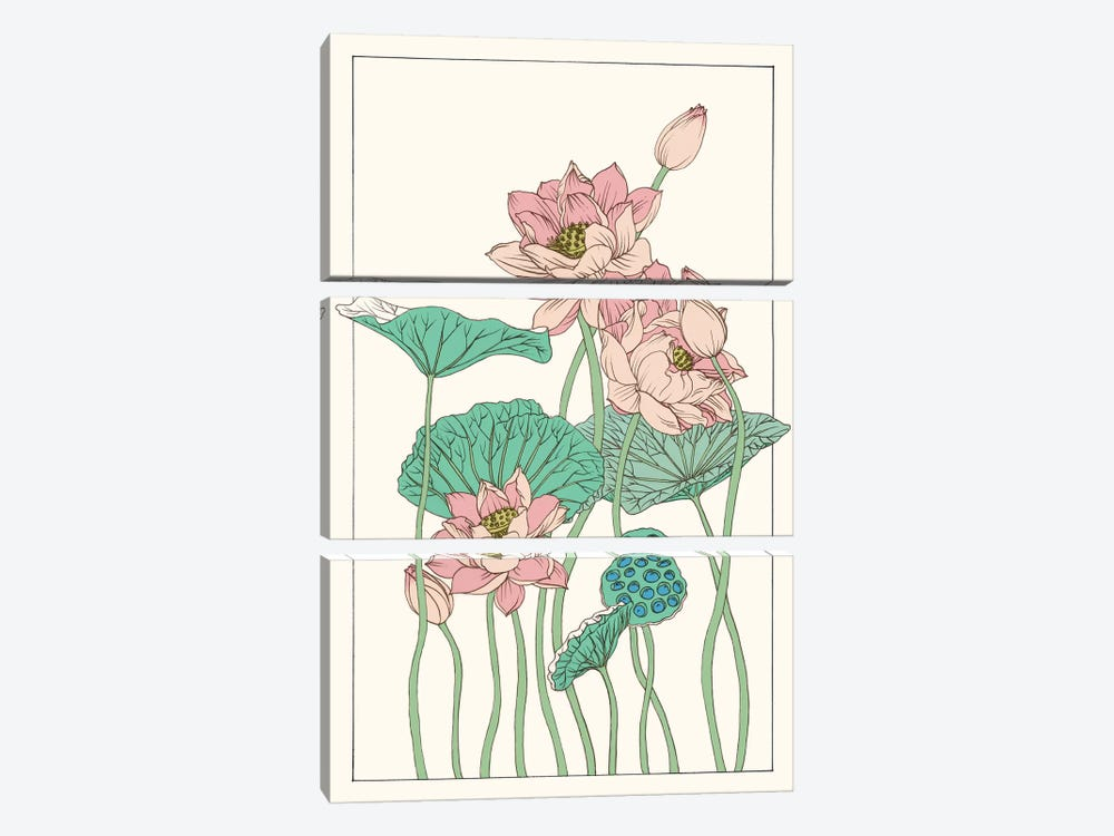 Botanical Gloriosa Lotus I by Melissa Wang 3-piece Canvas Wall Art
