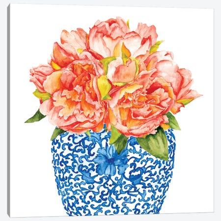 Sweet Peonies I Canvas Print #WNG643} by Melissa Wang Canvas Artwork