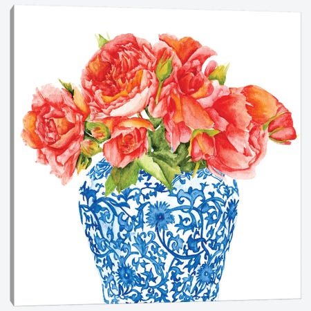 Sweet Peonies II Canvas Print #WNG644} by Melissa Wang Canvas Art Print