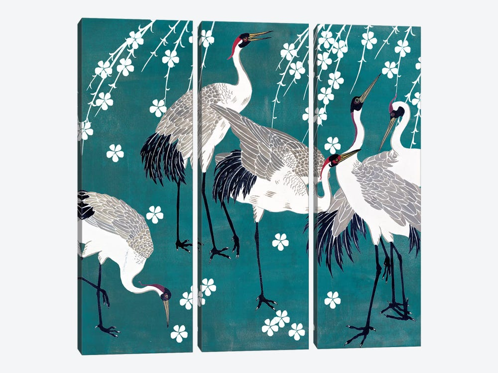 Crane at Night II by Melissa Wang 3-piece Canvas Print