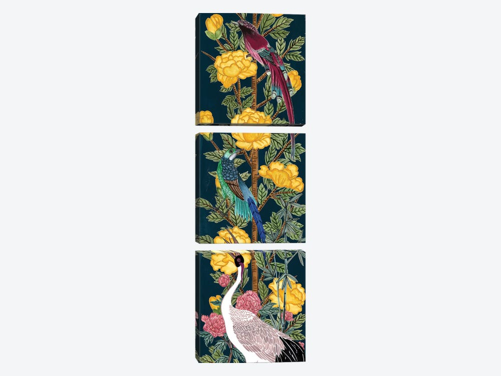 Chinese Peonies III by Melissa Wang 3-piece Canvas Print