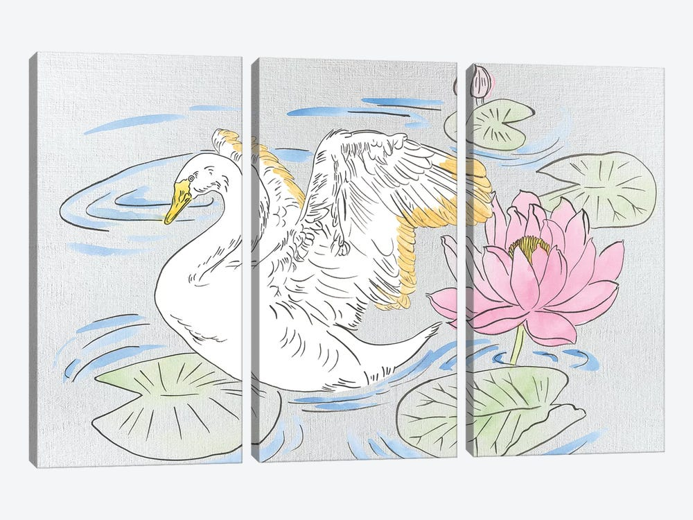 Swan Lake Song I by Melissa Wang 3-piece Canvas Art Print