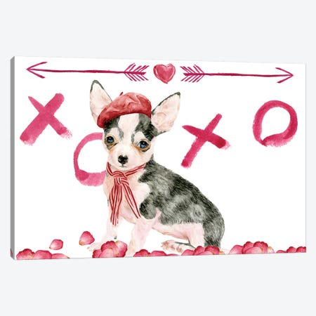 Puppy Valentine Collection A Canvas Print #WNG797} by Melissa Wang Art Print