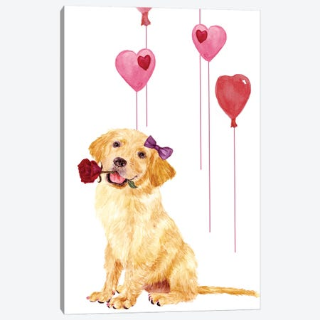 Puppy Valentine Collection B Canvas Print #WNG798} by Melissa Wang Canvas Art