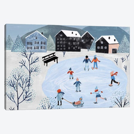 Snowy Village Collection A Canvas Print #WNG801} by Melissa Wang Canvas Art