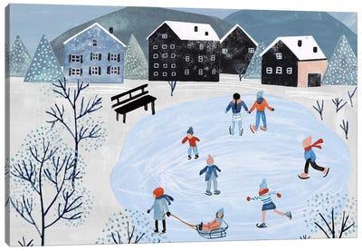 Snowy Village Collection A Canvas Art Print
