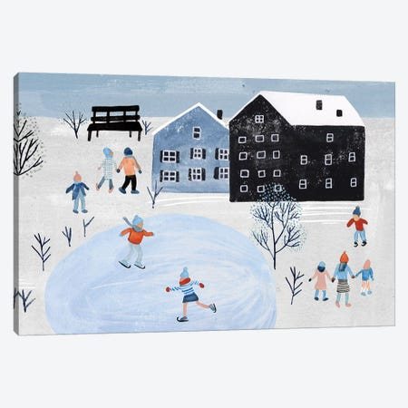 Snowy Village Collection D Canvas Print #WNG803} by Melissa Wang Canvas Artwork