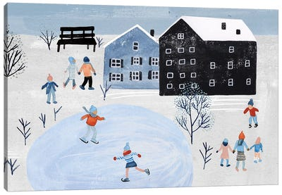 Snowy Village Collection D Canvas Art Print