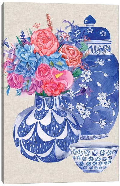 Delft Blue Vases I Canvas Art Print