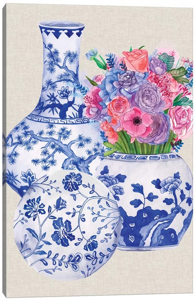 Delft Blue Vases II Canvas Art Print