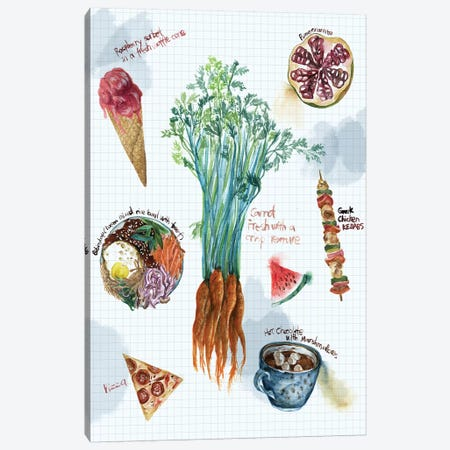 Food Sketches I Canvas Print #WNG9} by Melissa Wang Canvas Artwork