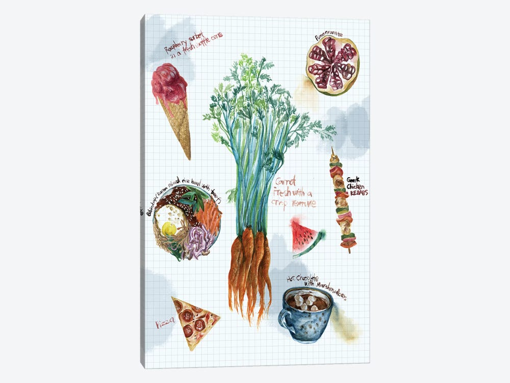 Food Sketches I by Melissa Wang 1-piece Canvas Wall Art
