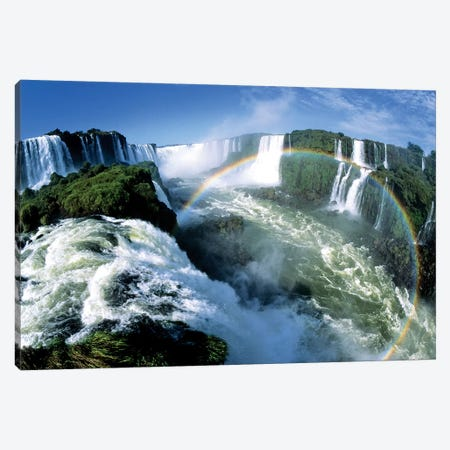 Cascades Of The Iguacu Falls, The World's Largest Waterfalls, With Rainbow, Iguacu National Park, Border Of Brazil And Argentina Canvas Print #WOT17} by Konrad Wothe Canvas Print
