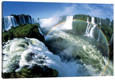Cascades Of The Iguacu Falls, The World's Largest Waterfalls, With Rainbow, Iguacu National Park, Border Of Brazil And Argentina Canvas Art Print