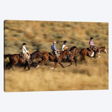 Cowboys And A Cowgirl Riding Domestic Horse Pair Through Field, Oregon Canvas Print #WOT20} by Konrad Wothe Canvas Art Print