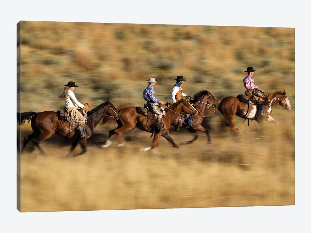 Cowboys And A Cowgirl Riding Domestic Horse Pair Through Field, Oregon by Konrad Wothe 1-piece Canvas Art Print
