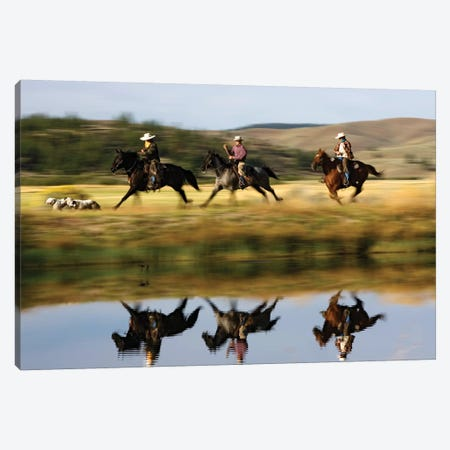 Cowboys Riding Domestic Horses With Dogs Running Beside Pond, Oregon Canvas Print #WOT21} by Konrad Wothe Canvas Print
