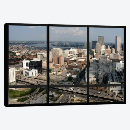 New Orleans City Skyline Window View Canvas Print #WOW23} by Unknown Artist Canvas Artwork