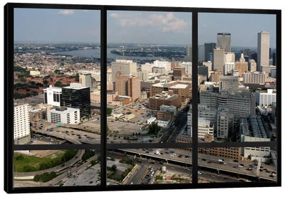 New Orleans City Skyline Window View Canvas Art Print